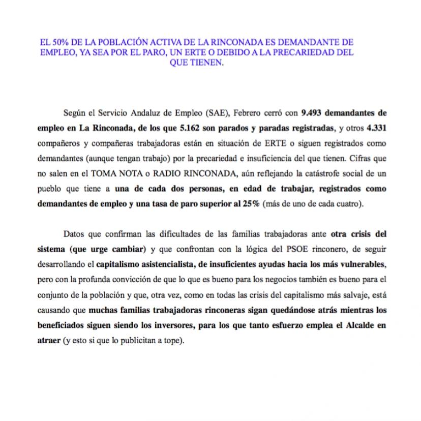 Empleo en La Rinconada a 23 marzo