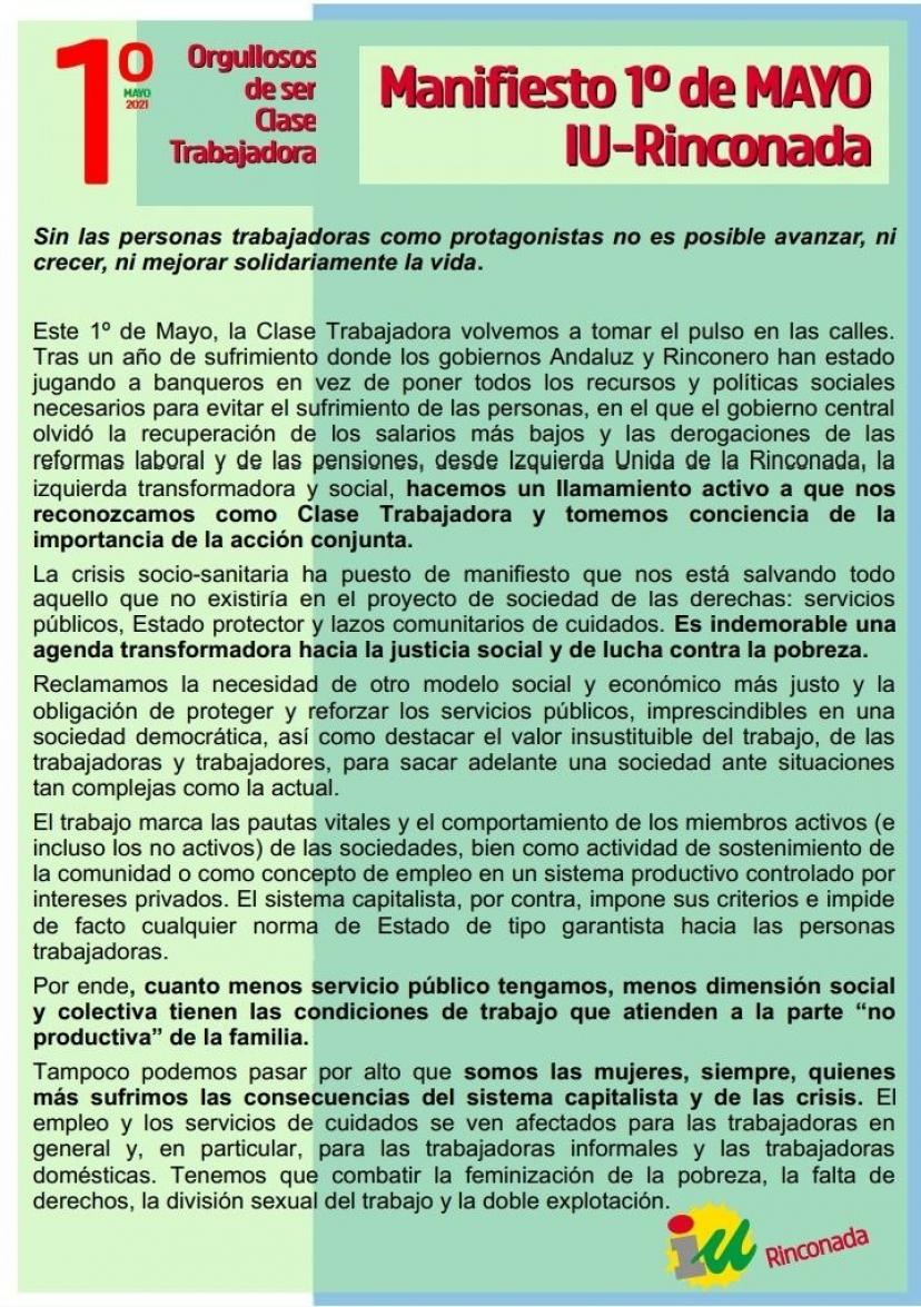 Manifiesto '1 de mayo IU La Rinconada - Orgullosos de ser Clase Trabajadora'