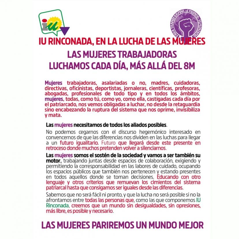 Manifiesto para el 8M de Izquierda Unida en la Rinconada
