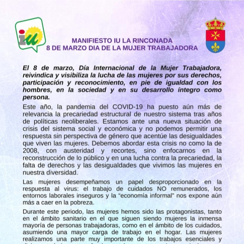 Manifiesto IU La Rinconada 8M Día de la Mujer Trabajadora